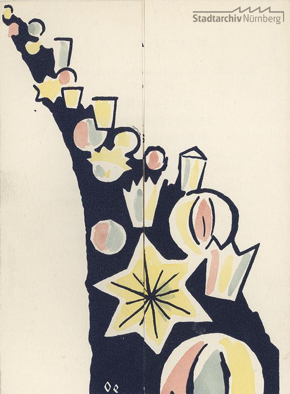 Die Einladungskarte zum Lichterzug 1953 deutet das bunte Lichtermeer der Kinder an, innen findet sich der Einladungstext. Quelle Stadtarchiv Nürnberg