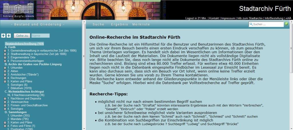 Startseite der Onlinerecherche des Stadtarchivs Fürth