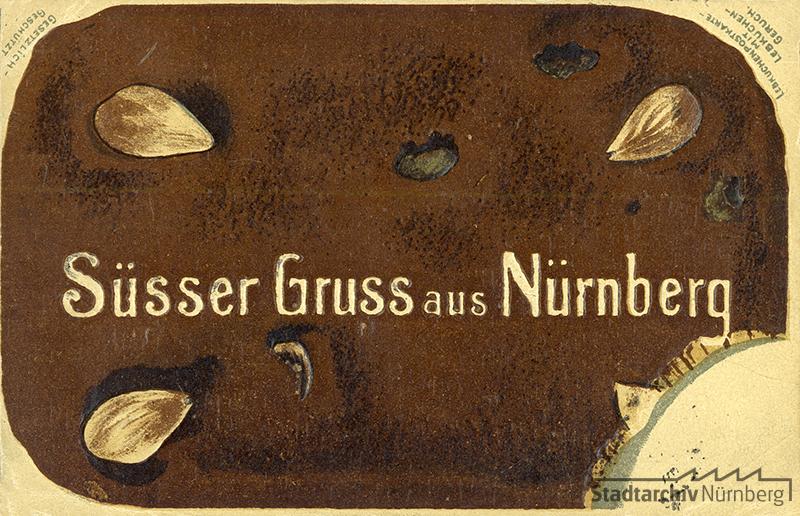 Diese Duftpostkarte aus dem Jahr 1903 hat die Form eines Lebkuchens und sollte sogar wie ein Lebkuchen riechen. Quelle Stadtarchiv Nürnberg