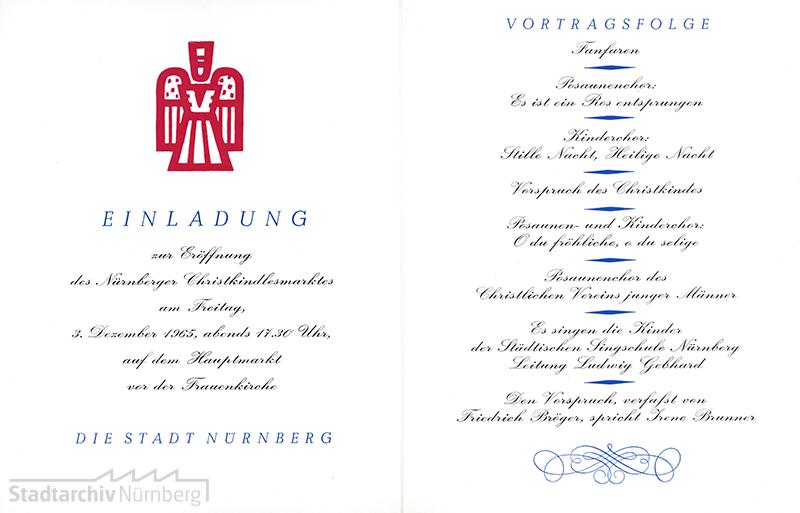 Einladung / Programm zum Christkindlesmarkt 1965