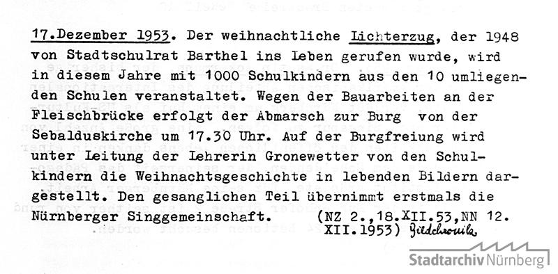 Eintrag in der Stadtchronik Nürnberg zum Lichterzug 1953. Quelle Stadtarchiv Nürnberg