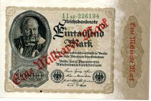 Reichsbanknote 1922, Überdruck von Eintausend Mark zu Einer Milliarde Mark