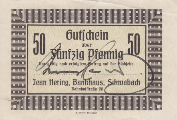 50-Pfennig-Gutschein der Privatbank Häring in Schwabach von 1918