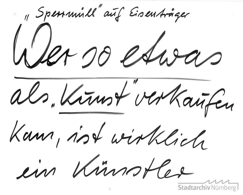 """Polemische Kritik zur Installation """"Auf Wiedersehen"""" (2006). (Stadtarchiv Nürnberg A 29)"""
