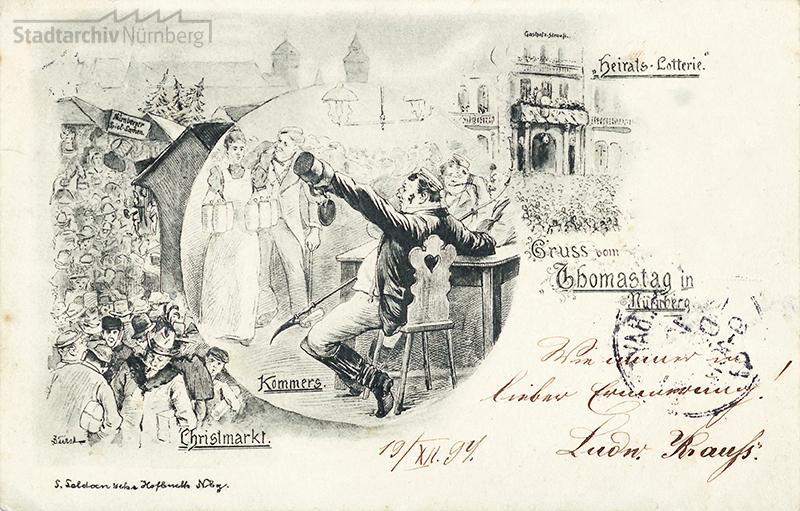 Postkarte. Lithographien eines Betrunkenen, der Heiratslotterie und des Christkindlesmarktes zum Thomastag, 1897