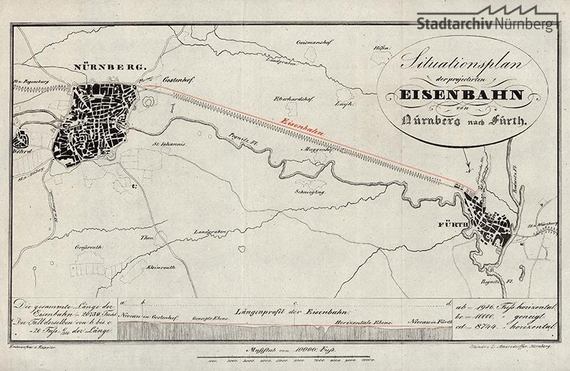 Situationsplan der projekierten Eisenbahn von 1833 (Stadtarchiv Nürnberg E 8 Nr. 3658)