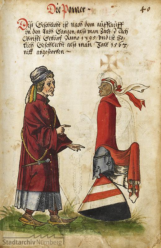 Wappen der Pömer aus einem Nürnberger Wappenbuch, kolorierter Holzschnitt 1563. (Stadtarchiv Nürnberg E 3 Nr. 52, Bl. 40r)