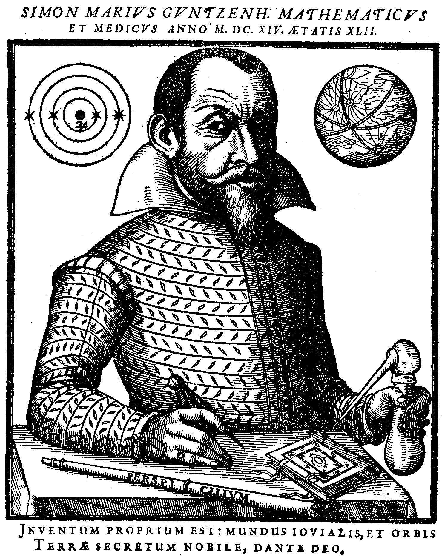 "Porträt von Simon Marius aus seinem Werk ""Mundus Iovialis"""