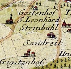 """Ausschnitt aus einer Karte von Gabriel Bodenehr d. Ä. """"Nürnberg mit dero Gegend"""" von 1750 (Stadtarchiv Nürnberg A 4/IV Nr. 56)"""