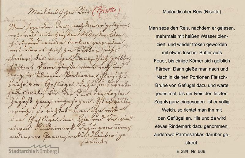 Rezept für Mailändischen Reis (Risotto) aus dem Koch- und Backrezeptbuch von Marie Eleonora Sophie von Holzschuher geb. von Praun