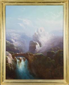 Italienische Felsenlandschaft mit einer Steinbrücke über einem Wasserfall