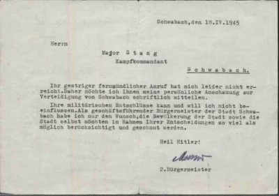 Schreiben Fritz Moezers zur Stadtverteidigung