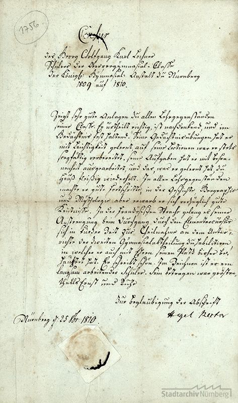 Zeugnis Georg Wilhelm Friedrich Hegels als Rektor des Nürnberger Gymnasiums für den Schüler Georg Wolfgang Karl Lochner (Stadtarchiv Nürnberg E 1/1000 Nr. 12)