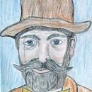 Zeichnung eines Mannes mit Zylinder und Monokel