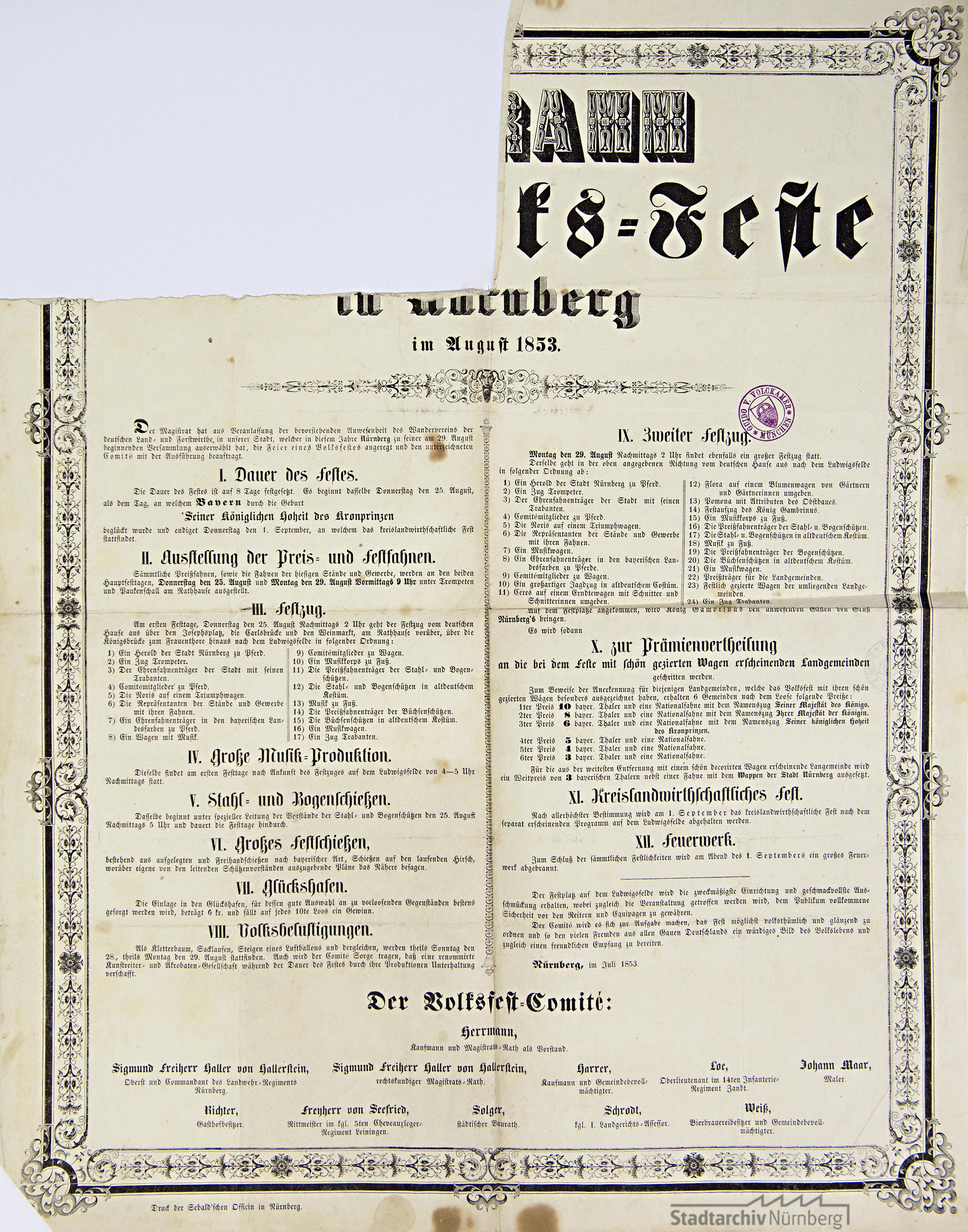 Programm des Volksfestes 1853 (Stadtarchiv Nürnberg A 25 Nr. 642)
