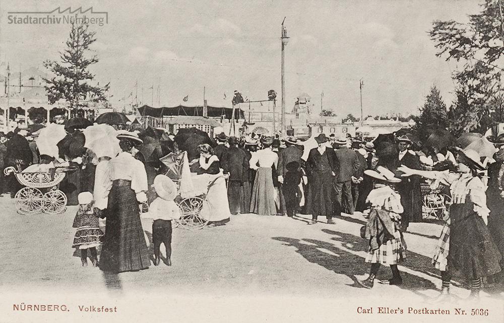 Postkarte des Volksfestes von 1908 (Stadtarchiv Nürnberg A 5 Nr. 4857)