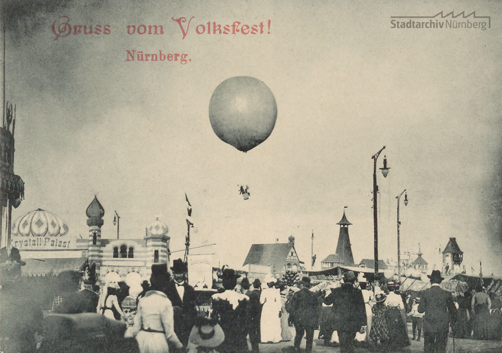 """Postkarte """"Gruß vom Volksfest"""" von 1908 (Stadtarchiv Nürnberg A 5 Nr. 4858)"""