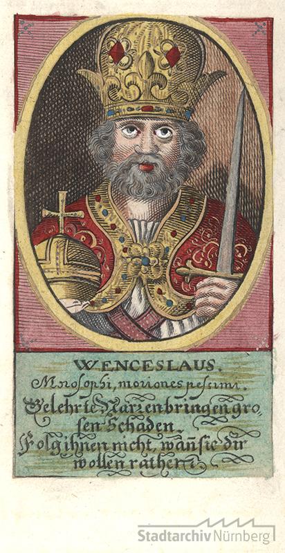 König Wenzel, Miniatur in einer Nürnberger Chronik des 16.-18. Jahrhunderts