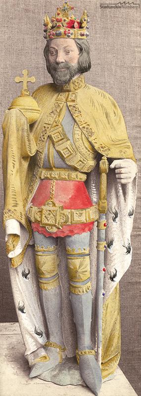 Schöner Brunnen, Kolorierte Werkzeichnung der Statue Karls IV. (Stadtarchiv Nürnberg A 7/II Nr. 277)