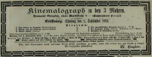 Anzeige zur Eröffnung des Kinematographen zu den 3 Mohren im Neumarkter Tagblatt Nr. 198 vom 1. September 1912