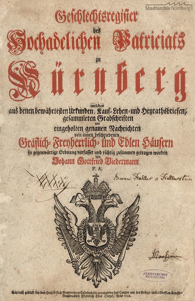 Geschlechtsregister des Hochadelichen Patriciats zu Nürnberg