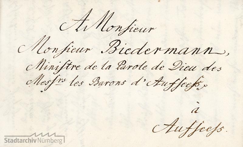 Briefadresse Biedermanns in Aufseß 1749
