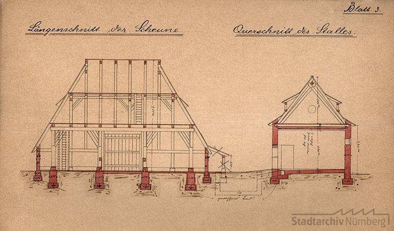 Bauzeichnung der Schwedenscheune und des Stalles 1889
