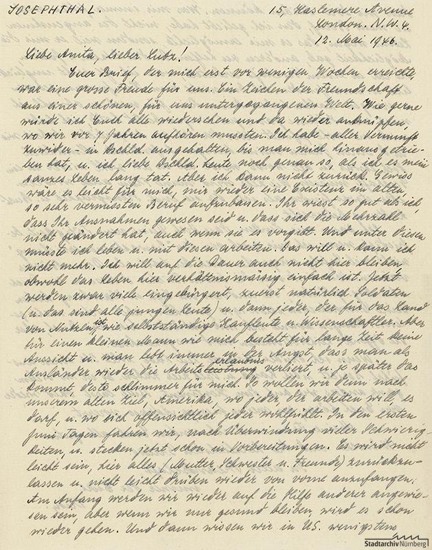 Einer von neun Briefen des Rechtsanwalts und ehemaligen Nürnberger Bürgers jüdischen Glaubens Fritz Josephthal aus London an Ludwig Ritter von Rudolph und seine Frau Anita vom 12. Mai 1946