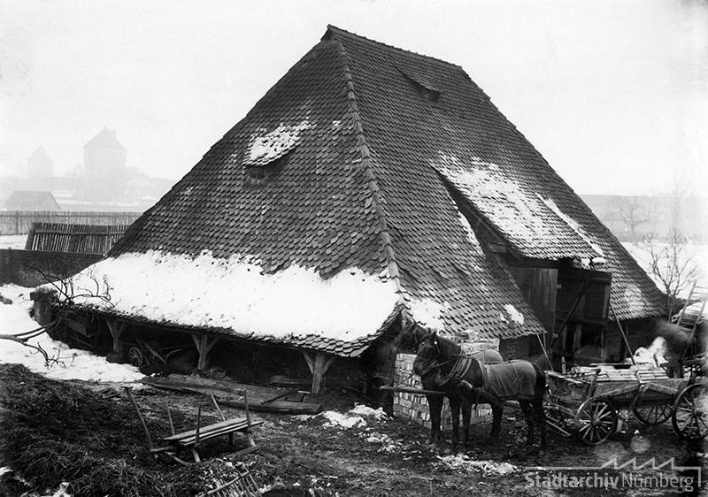 Schwedenscheune im Tuchergarten vor 1889