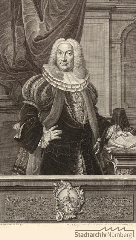 Porträt des Wolf Sigmund Holzschuher, Ratsherr und Scholarch; geb. 11. Juli 1695; gest. 23. Mai 1752. Kupferstich von Georg Daniel Heumann 1753. Stadtarchiv Nürnberg E 17/II Nr. 1209.