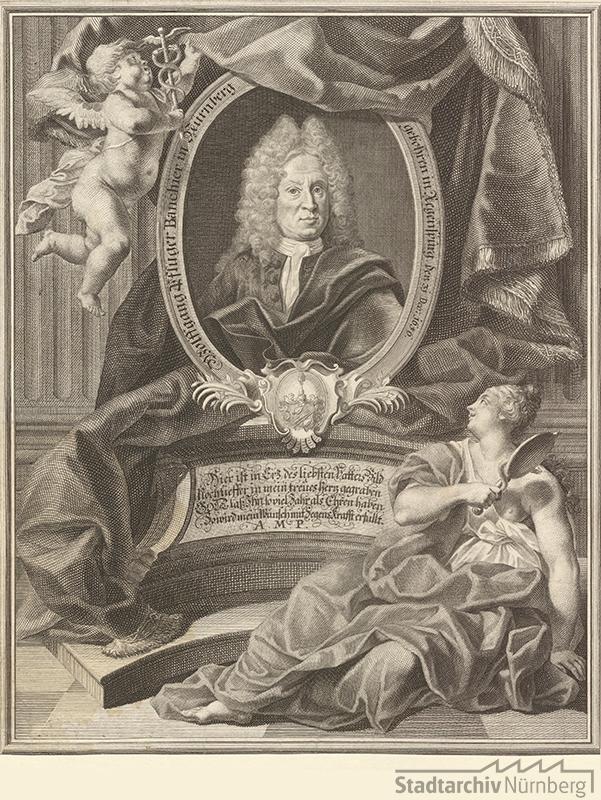Porträt des Wolfgang Pflüger, Bankier in Nürnberg; geb. 31. Dezember 1656; gest. 16. September 1722. Kupferstich von Georg Daniel Heumann 1720. Stadtarchiv Nürnberg E 17/II Nr. 2159.