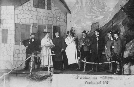 Postkarte vom Winterfest 1911 der Sektion Schwabach im Deutschen