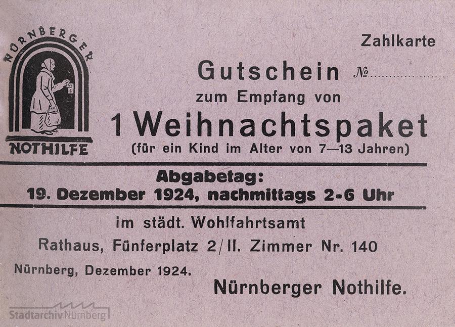Gutschein für ein Weihnachtspaket aus dem Jahr 1924. Quelle Stadtarchiv Nürnberg