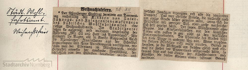 Ausschnitt aus der Stadtchronik Nürnberg zur Weihnachtsfeier für bedürftige Kinder im Jahr 1924. Quelle Stadtarchiv Nürnberg