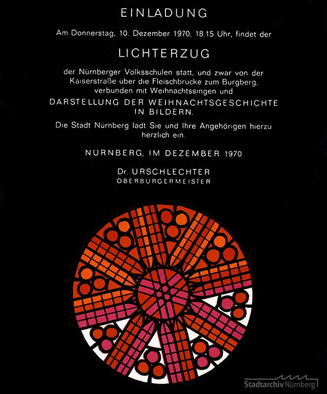 Einladungskarte zum Lichterzug des Jahres 1970. Die Gestaltung erinnert an die Rosette der St. Lorenzkirche. Quelle: Stadtarchiv Nürnberg