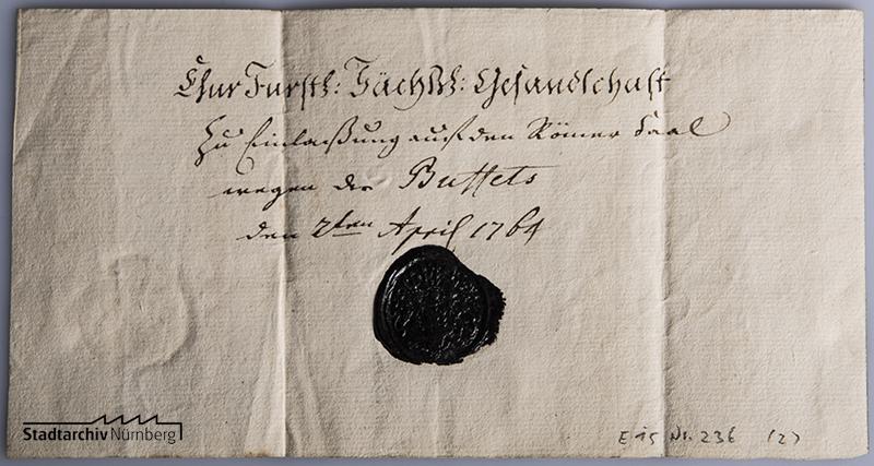 Gesiegelte Eintrittskarte zum Krönungsbüffet für Joseph II. in Frankfurt