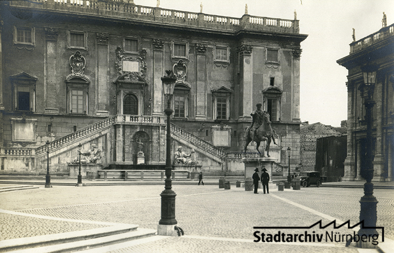 Kapitol mit der Reiterstatue Marc Aurels, Rom. September 1927. (Leila Makarius, Buenos Aires/Argentinien)