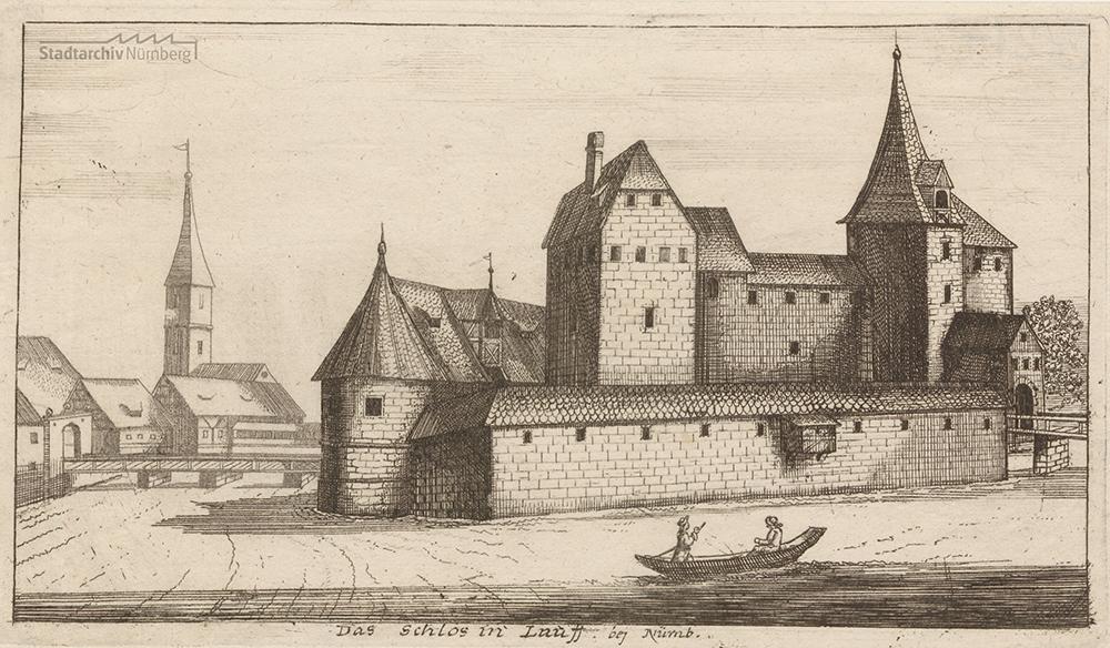 "Johann Alexander Boener: ""Das Schlos in Lauff bej Nürnb."", Radierung 23,1 x 13,5 cm (Blatt) Stadtarchiv Nürnberg E 13/II Nr. G 214."