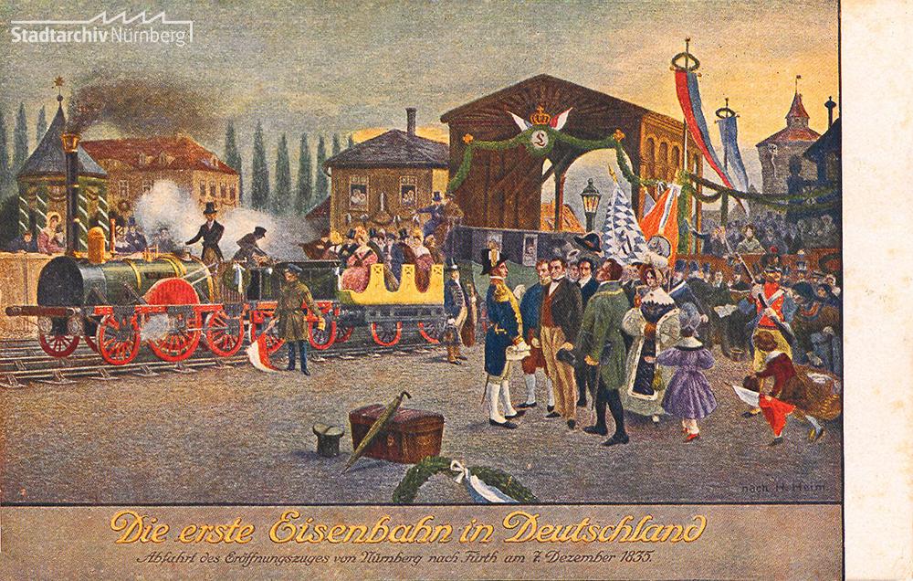 Die Jungfernfahrt der Ludwigseisenbahn von Nürnberg nach Fürth am 7. Dezember 1835