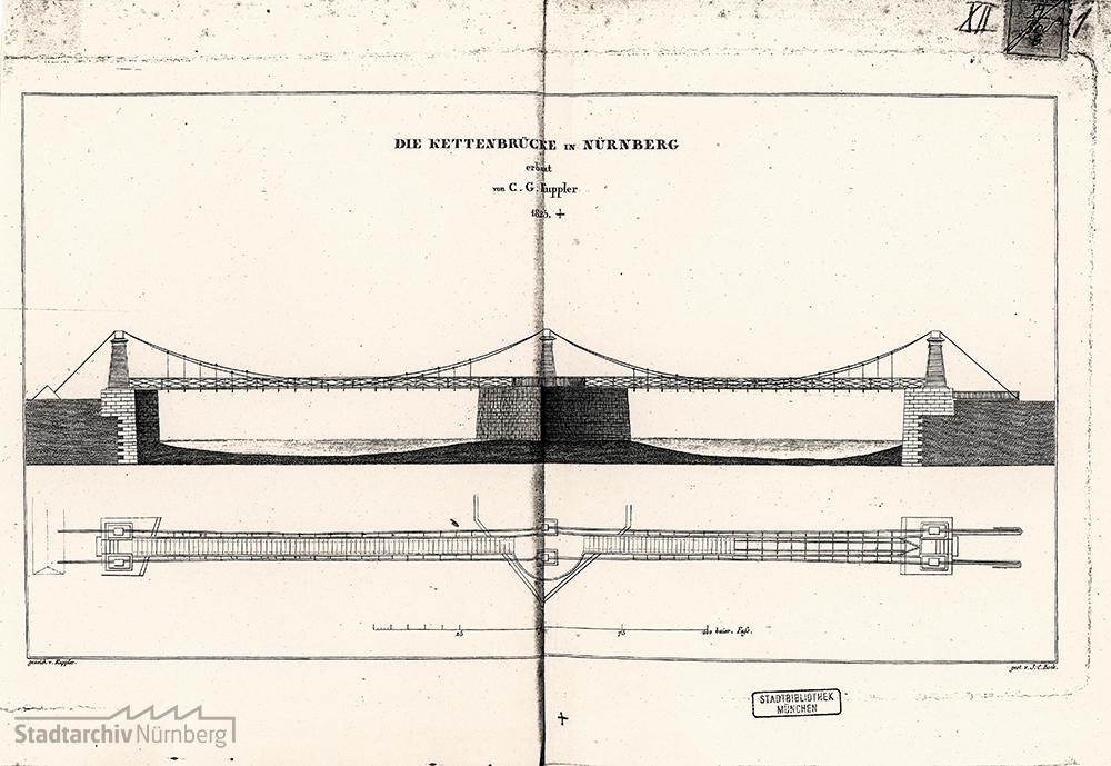 """""""Kettenbrücke in Nürnberg, erbaut von C. G. Kuppler 1825"""""""