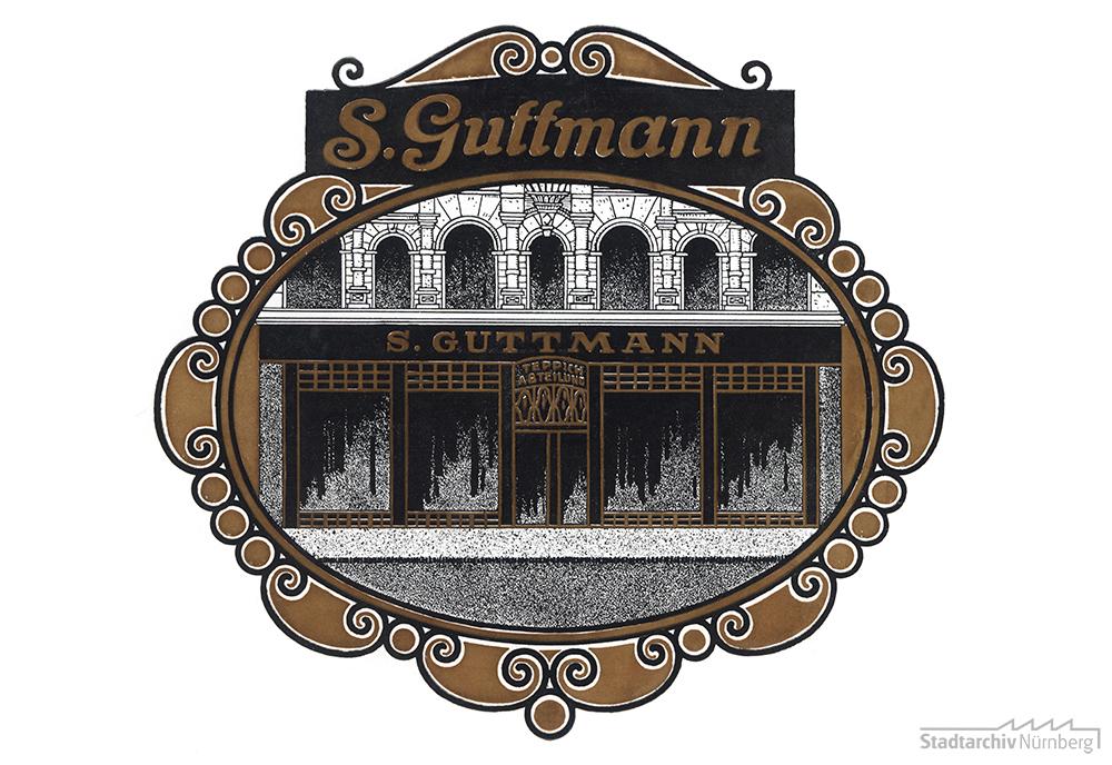 Vorderseite des Einladungsschreibens zur Wiedereröffnung des neu gestalteten Teppichhauses der Firma S. Guttmann in der Adlerstraße 35, um 1912/13. (Stadtarchiv Nürnberg E 10/159 Nr. 28)