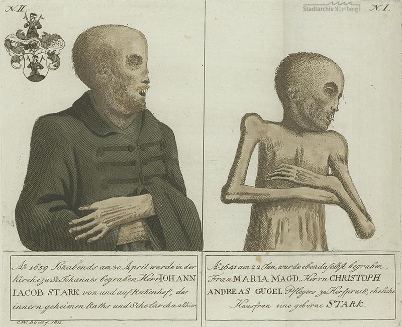 Stark´sche Mumien auf dem Johannisfriedhof. Kupferstich von Christoph Wilhelm Bock