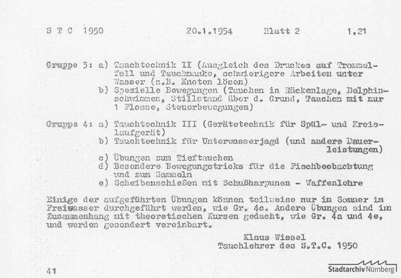 Trainingsplan, erstellt am 20.1.1954 von Klaus Wissel