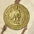 Goldbulle Kaiser Sigismunds an einer Privilegienbestätigung für das Nürnberger Heilig-Geist-Spital vom 14. Februar 1434