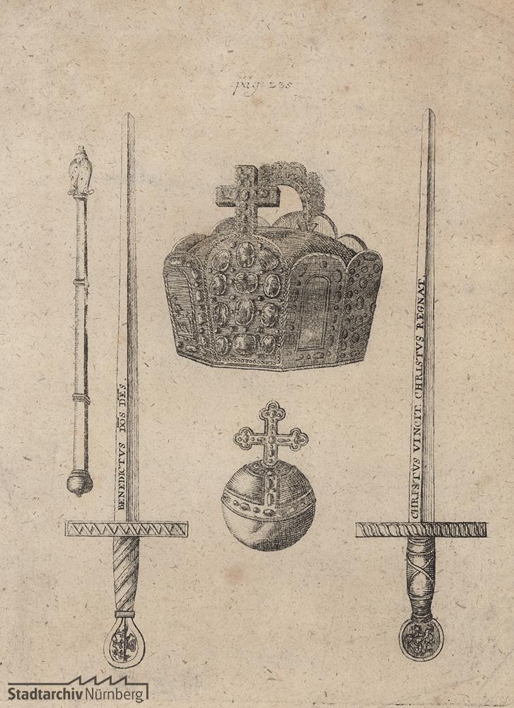 Abbildung der Reichskleinodien: Reichskrone, 2 Schwerter, Szepter und Reichsapfel