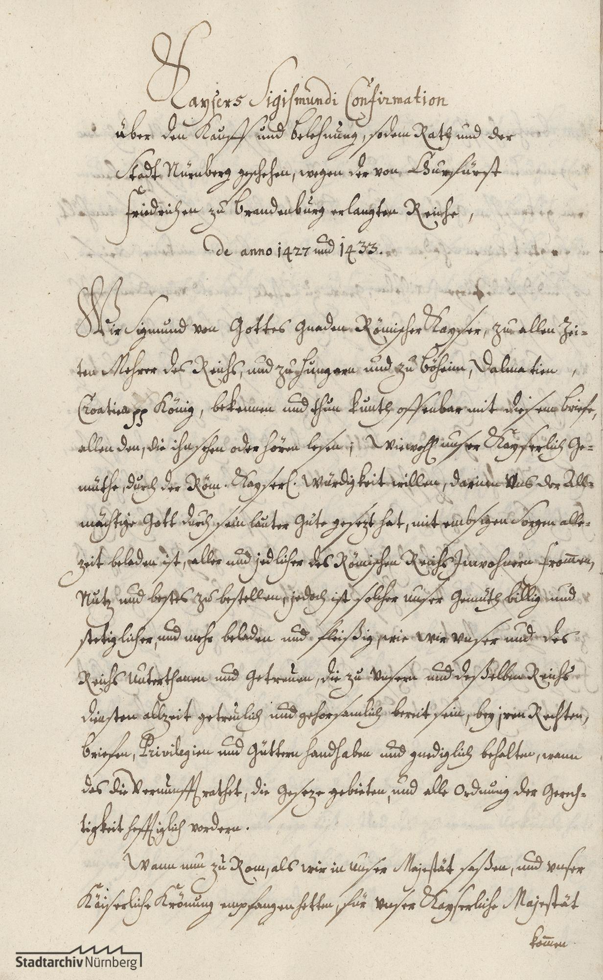 Abschrift der Bestätigungsurkunde Kaiser Sigismunds von 1433 für die Kaufbriefe über die Nürnberger Burg und die Rechte am Nürnberger Wald von 1427