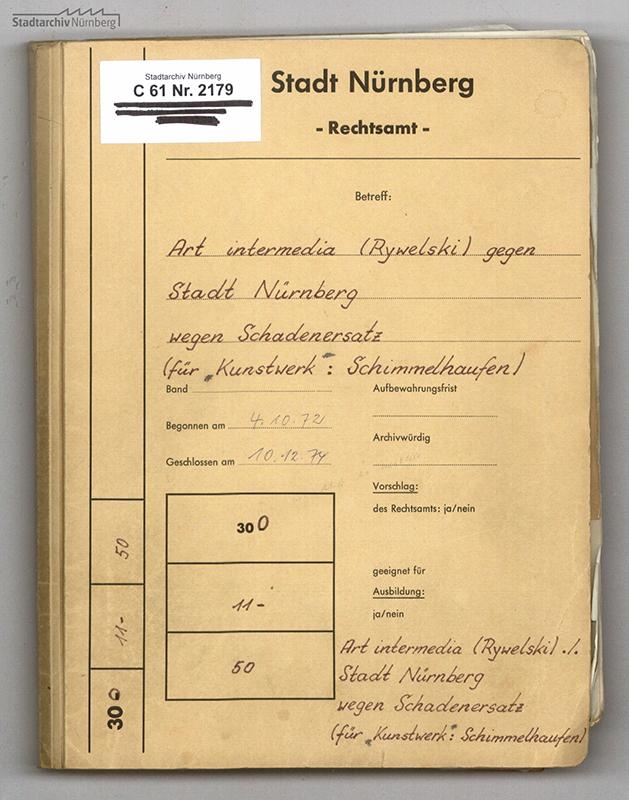"""Aktendeckel der Prozessakte zum Fall """"Schadensersatz für Kunstwerk: Schimmelhaufen"""""""