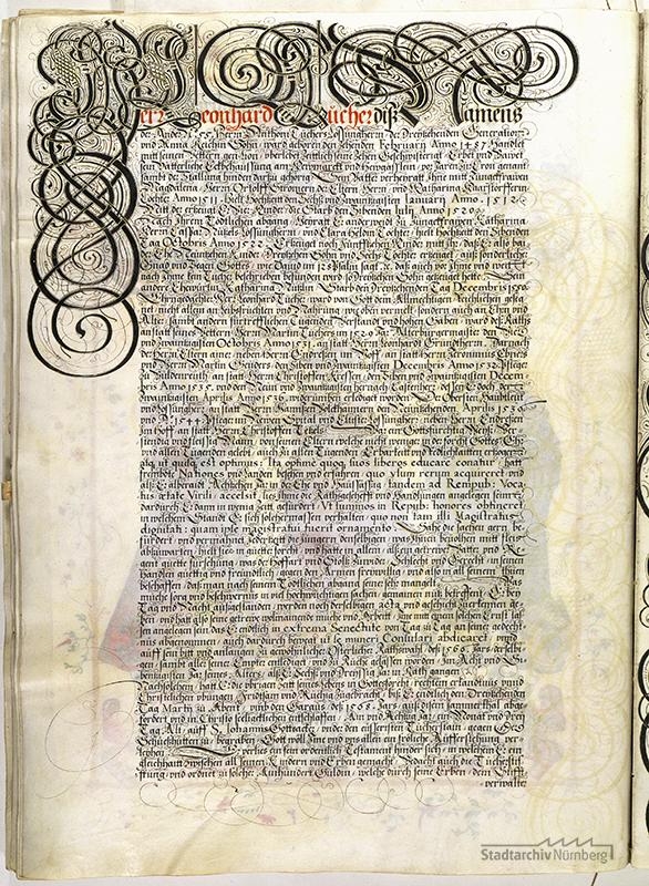 Das Große Tucherbuch: Eintrag zu Leonhard II. Tucher, Magdalena Stromer und Katharina Nützel und ihren Kindern. Pergamenthandschrift um 1590 (Stadtarchiv Nürnberg E 29/III Nr. 258, fol. 118v).