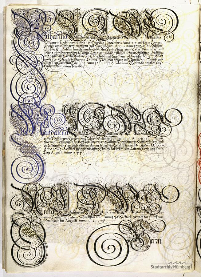 Das Große Tucherbuch: Eintrag zu Leonhard II. Tucher, Magdalena Stromer und Katharina Nützel und ihren Kindern. Pergamenthandschrift um 1590 (Stadtarchiv Nürnberg E 29/III Nr. 258, fol. 119v).