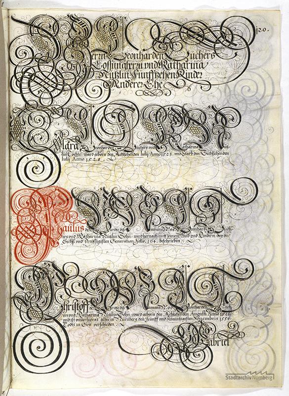 Das Große Tucherbuch: Eintrag zu Leonhard II. Tucher, Magdalena Stromer und Katharina Nützel und ihren Kindern. Pergamenthandschrift um 1590 (Stadtarchiv Nürnberg E 29/III Nr. 258, fol. 120r).